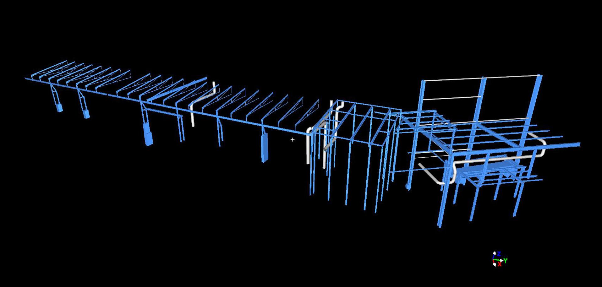 (3) Stahlkonstruktion mit Rohrleitungen